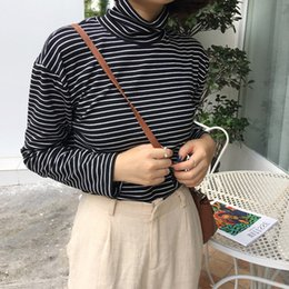 Gola alta on-line-Mulheres Gola Estilo Coreano Camiseta Harajuku Top de Manga Comprida Listrada Tops camisa feminina T Primavera Outono tops casuais