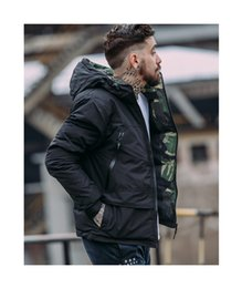 Wholesale Camouflage Winter Coats For Men - 2017 new short tide brand winter camouflage Hoodie frock coat jacket mens jacket and male tide trend of Korean street for youth