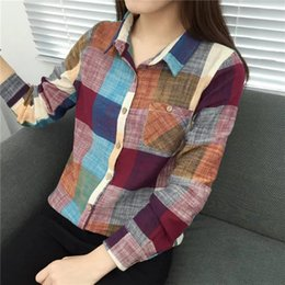 Wholesale Check S - plus size Fashion Casual Plaid Shirt Women Loose Long Blouse Check Shirt Leisure Black And White Women Casual Blusas Spring Autumn