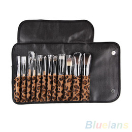 Wholesale Pro Makeup Bags - 12pcs per Set Women Pro Makeup Brush Set Cosmetic Tool Leopard Bag Beauty Brushes Kit By DHL