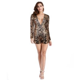 49218ea8dd Party Sequin Jumpsuit Sexy Backless Deep V-neck Long Sleeve Elegant Summer  Rompers Womens Jumpsuit Shorts Formal Y2125