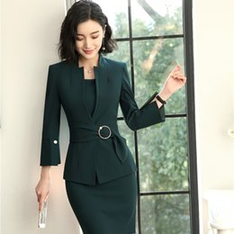 suit work wear for women Coupons - 2018 New Styles EleUniform Designs Blazers Suits With Two Piece Jackets And Dress For Women Business Work Wear Sets