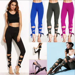 Wholesale Red Dance Tights - Women Wrap Yoga Fitness Pants Dance Ballet Sports Slim Leggings Bandage Trousers Elastic Running Tights OOA4760