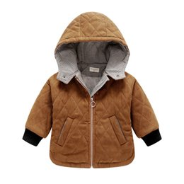 Wholesale quilted cotton jacket - Baby boy coat Jackets Warm cotton quilted Dimond Hooded jacket Baby clothing 2017 winter 9months-3years