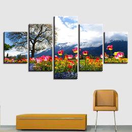 Pinturas de montaña online-Wall Art Decor Room Pictures Prints 5 Piezas Flowers Tree Mountain y White Cloud Scenery Paintings Poster Frame Canvas Modular