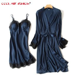 Wholesale Two Piece Lace Lingerie - Luxury Women sexy Lace Silk like two pieces robe dress female lingerie spring summer sleepwear long sleeve bathrobe+braces skirt