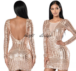 Wholesale Low V Neck Mini Dress - In Stock Rose Gold Sequin Short Cocktail Party Dresses with Long Sleeve 2018 Low Back Mini Prom Occasion Dress Cheap