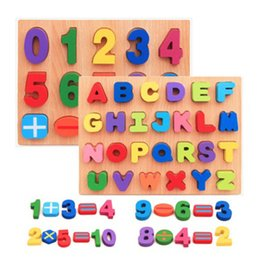 Wholesale Early English - Children Woodiness Hand Clutching Plate Digital Building Blocks English Alphabet Early Childhood Informative Toy For Baby 9 5hh X