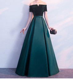 Argentina Vestidos de noche elegantes sin tirantes de satén con terciopelo Vestidos de fiesta largos Verde oscuro, negro, rojo, azul por encargo Vestido formal de talla grande Suministro