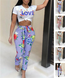 Wholesale women nightclub shirts - Europe America women clothing sports casual two pieces nightclub clothing love print t shirt crop tops striped pants tracksuit poppy outfit