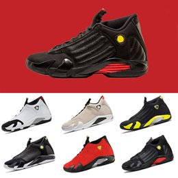 Wholesale size 13 14 - 2018 new 14 14s Mens Basketball Shoes Last shot Desert Sand DMP Black Toe Thunder Indiglo trainers sports Sneakers size 7-13