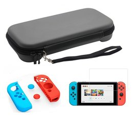 Wholesale tempered glass switch - Game Controller Carrying Cases for Nintendo Switch Joy-Cons Carrying Bags Shockproof Protective Storage Bag with Tempered Glass Ship from US