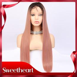 2019 parrucche sveglie del merletto Parrucca rosa carino dritto parrucca sintetica anteriore pizzo dritto per le donne parrucche lungo rettilineo fibra resistente al calore per donna nera parrucche sveglie del merletto economici