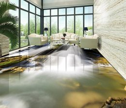 Wholesale River Wedding - scenery wallpaper 3D floor tiles floor waterfall waterfall water river 3d stereoscopic wallpaper