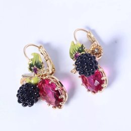 Wholesale les nereides - 2017 France Pairs Amybaby Les Nereides Berry Raspberry Mulberry Blackberries Leaves Red Stone Stud Earrings Jewelry