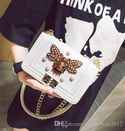 Wholesale Pearly Whites - outlet brand classic real leather bags small chain bag fashion bee diamond woman single shoulder bag clamshell pearly woman hand bag
