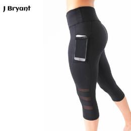 Wholesale print leggins - Yoga Leggings Capri Pant Leggins Sport Women Fitness Yoga Pants Gym Legging Women Black Mesh 3 4 Pants