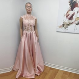 Wholesale Long Line Skirt Pattern - Pink High Neck Illusion A Line Evening Dresses With Lace Appliques Ruffles Formal Evening Wear Vestidos De Fiesta Long Prom Skirts