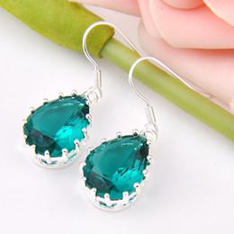 Wholesale Sterling Silver Earrings Gemstones - Wholesale 6 Pairs   Lot Newest Drop Dark Blue Topaz Gemstone 925 Sterling Silver Plated Drop Earrings ce0548