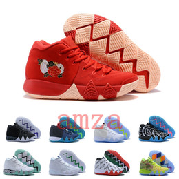 Wholesale Chinese Shoes Brands - Kyrie Irving 4s Chinese New Year Basketball Shoes Mens Sports Sneakers Kyrie 4 Multicolor All Star BHM Obsidian Black White Red Brand Shoe