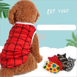 Wholesale dog t shirts - Small Dog Summer Vest Pet T-Shirt Cute Cartoon Pet Cat Shirt Soft Dog Clothing Vest Shirt Costumes Apparel KKA5054