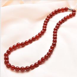 Wholesale Jade Jewelry Box China - Agate necklace 8mm Fashion Red Chalcedony Jewelry Send box