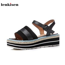 Wholesale Preppy Shoes - wholesale 2018 new arrival peep toe solid buckle cow leather causal shoes wedges young lady preppy med heel women sandals L27