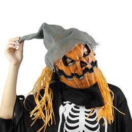 Wholesale realistic rubber masks - 2017 New Design Halloween Pumpkin Scarecrow Mask Creepy Latex Realistic Crazy Rubber Super Creepy Party Halloween Costume Mask