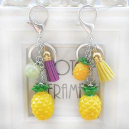 Wholesale Fruit Ornaments - Handwork DIY Keychain 2 Styles Mini Fruit Pineapple Key Rings Key Holder Handbag Pendant Ornament For Women Girl Free DHL G728Q