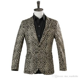 men s leopard jacket 2018 - Hot Sale 2018 Fashion Men's Long Sleeve Nightclub Leopard singer Stage Performance Show Jacket Costumes Slim Wear Star Concert Coat