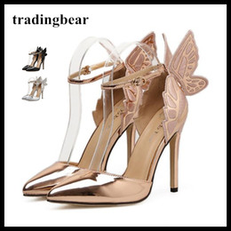 Wholesale Pointy Toe Ankle Strap Heels - Dreamy Butterfly Ankle Strap Pointy Pumps Super Sexy High Heels Wedding Shoes Silver Champagne Black Size 35 to 40
