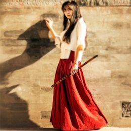 Wholesale Hanfu Clothes - Hanfu Costume Black Long Skirt Chinese Clothes Summer High Waist Red Cotton Linen Retro Maxi Skirt Saia Longa Jupe Faldas Largas