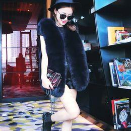Argentina CAF377 CHEAPEST Exquisito Faux Fur Loose Women Chaleco Fake Fur Coats Chaleco de piel sintética de lujo Negro Gris Blanco XS-8XL De gran tamaño Suministro