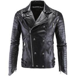 High-end-männer lederjacke online-2018 Herren Neue Ankunft Marke Motorrad Lederjacke Herren High-End-Boutique Punk Jacke 5XL