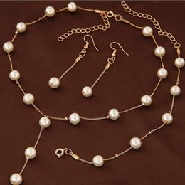 brincos de colar de pérolas simples set Desconto Desigenr jóias conjuntos de jóias de pérolas para as mulheres jóias de casamento colar pulseiras brincos simples OLsweet fahsion quente livre de transporte