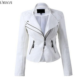 Wholesale Ladies Black Leather Coats - LXUNYI White Black PU leather Motorcycle jacket Women 2017 Autumn Short Slim Zipper Coat Plus Size Ladies leather jackets Faux