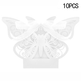 Wholesale Butterfly Laser Box - 10pcs Laser Cut Butterfly Wedding Favor Box Candy Box Gift Wedding Favors Party Supplies Decoration GF091