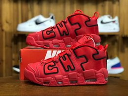 new product a6a01 992d5 France UK Pippen Air plus Uptempo QS United Kingdom Noir Blanc Rouge Hommes  Femmes Chaussures de basketball Airs 3M Scottie pippen Baskets de sport  36-45