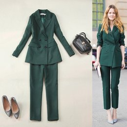 Wholesale Elegant Wear For Ladies - Hot Selling Olive Green Ladies Suits For Women Business Suits Formal Wear Blazer and Pant Sets Elegant Office Uniforms