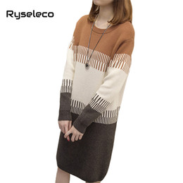 bfb4ba5acd3 Wholesale-Ryseleco Women Fall Winter Vintage Plus size Sweater Dresses Long  Sleeve Patchwork Knee-Length Oversize Knitted Tunic Vestidos