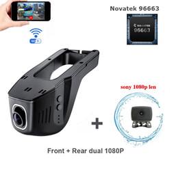 Verstecktes mikrofon online-versteckter Typ Wifi-Auto-DVR-Dualkameras für Front- und Heck-Dual-Full-HD-Kamera mit 1080P-Doppellinsen-Kameras Car-Videorecorder Novatek 96663