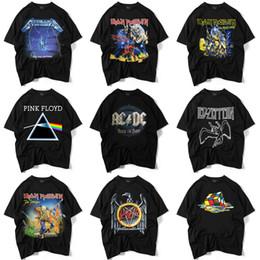2019 cortos de la venda de la roca Hombres de alta calidad camiseta negra S-XXL impreso Iron Maiden Rock Band camiseta en 9 estilos de marca de ropa de manga corta cortos de la venda de la roca baratos