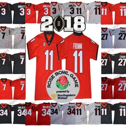 Wholesale roses green - NCAA Georgia Bulldogs #11 Jake Fromm 27 Nick Chubb 7 DAndre Swift 3 Roquan Smith Black Red White 2018 Rose Bowl Championship Jerseys