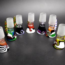 Tubos de tabaco coloridos on-line-Novo 14mm Macho Wig Wag Tigelas De Vidro com Punho Colorido Bong Fumar Tigelas Pedaço para Tubos De Água De Vidro de Tabaco Bons Dab Rigs