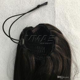 """Ponytails 613 on-line-Hetero Clip in Drawstring Rabos De Cavalo Humanos 16 """"120g Rabos De Cavalo Brasileiros Cor Natural # 6 # 12 # 613 Virgem Do Cabelo Humano VMAE cabelo"""