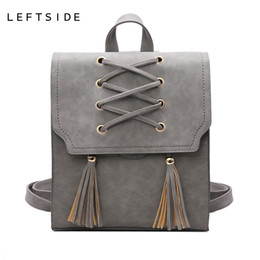 Wholesale trend travel school bag - LEFTSIDE 2017 Travelling Back pack Tassel Women Backpacks PU Leather School Bag Casual Style A4 Women Backpack Fashion Trend