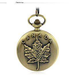 Wholesale maple watch - Fashion Casual Silver Quartz Pocket & Fob Watches Necklace Pendant Relogio De Bolso Women Watch Canadian Flag Maple Pattern Gift