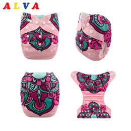Wholesale Pocket Cloth Diapers Inserts - (10 pieces lot) 2017 ALVABABY Position Printing Pocket Cloth Diapers Reusable Diaper with Microfiber Insert