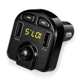 Double sd mp3 en Ligne-Transmetteur FM sans fil Kit de voiture Bluetooth Lecteur MP3 Chargeur de voiture Double USB Appels mains libres Soutien Carte Micro SD / U-Disk