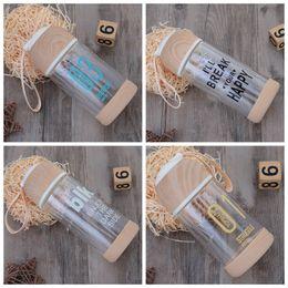 Wholesale hand loop - Wood Lid Glass Water Bottle Outdoors Portable Beverage Juicer Use 200ML 300ML Carrying Loop Sports Outdoor Tea Cups GGA152 30pcs
